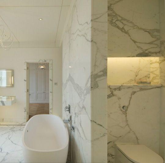 Contemporary Marble Tile Bathroom Model In London White Carrara