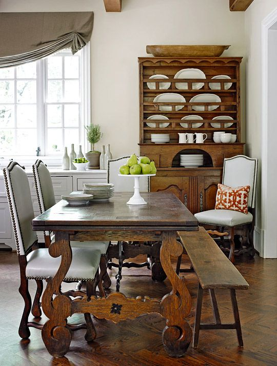 The Best Dining tables Antique dining table, bench, chairs, hutch. Herringbone patterned wood floors.