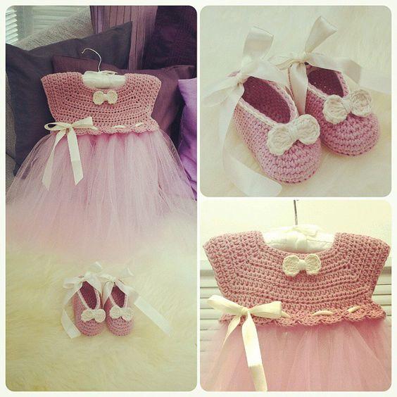 Free Crochet Tulle Dress Pattern : Crochet and tulle baby dress. Pattern for dress inspired ...