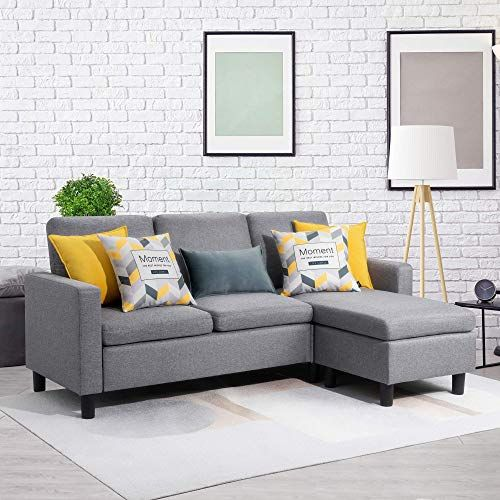 New Walsunny Convertible Sectional Sofa Couch Reversible Chaise L Shaped Couch Modern Linen Fabric Small Space Dark Grey Online In 2020 Sectional Sofa Sectional Sofa Couch L Shaped Couch