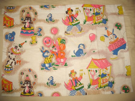 1950s 1960s children 39 s circus fabric children 39 s vintage for Vintage childrens fabric prints