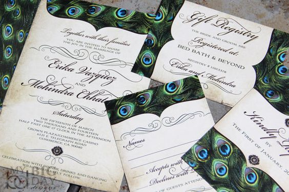 Vintage Peacock Feathers Wedding Invitation Set. Sophisticated Peacock wedding invitations. Exquisite peacock feather wedding invitations