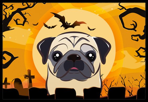 Halloween Fawn Pug Indoor or Outdoor Mat 18x27 BB1820MAT