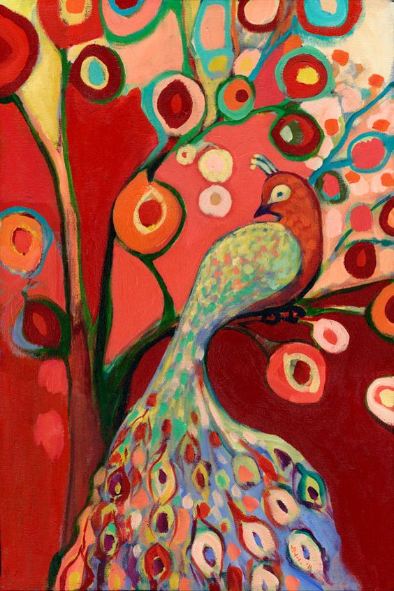 Red Peacock Art Print by Jennifer Lomers. I love anything by Jennifer Lomers!