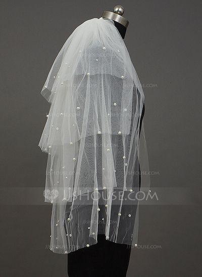 Four-tier Elbow Bridal Veils With Cut Edge (006034393)