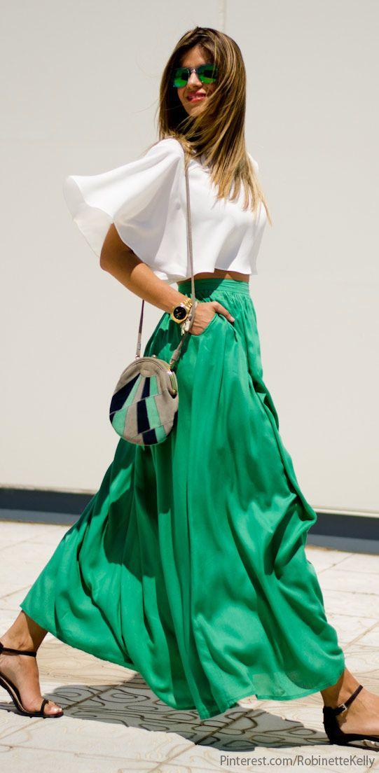 Top cropped + saia longa = Beleza e leveza :)