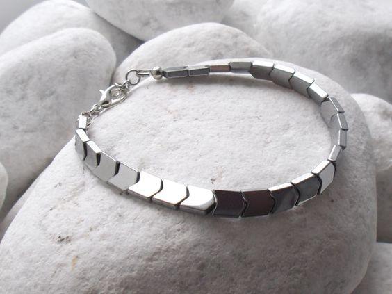 Brazaletes - Pulsera de plata del hematites de hombres - GB07 - hecho a mano por No-Limits en DaWanda #moda #hombre #modamasculina #bisuteríahombre #pulserashombre #DaWanda #fashion  #hechoamano #diseño #handmade #DIY