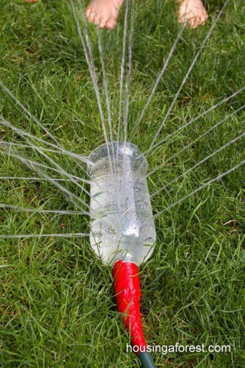 Make a sprinkler from scratch. Poke a few holes in a water bottle, line it up with the mouth of your hose and tape it in place.