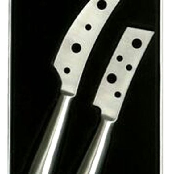 Prodyne K7S Set of 2 Open Blade Stainless Steel Cheese Knives. Ideal for cutting, slicing or cubing any type of cheese. The stylish handles and blades are crafted from quality 18/8 brushed stainless steel, with the handles permanently affixed to the blades. Each knife is specially designed with an open surface blade and elongated handle.