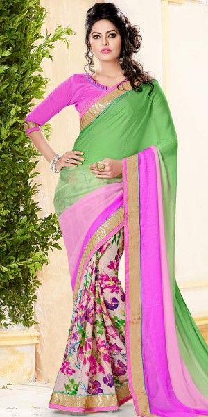 Vibrant Green And Multi-Color Crepe Printed Saree With Blouse.