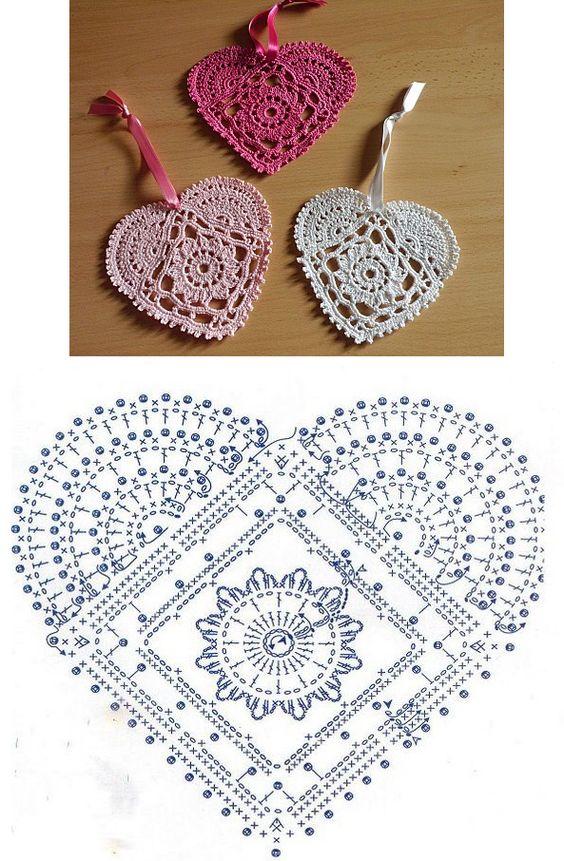 Motiv Herz häkeln - Coração  Heart - Crochet heart pattern