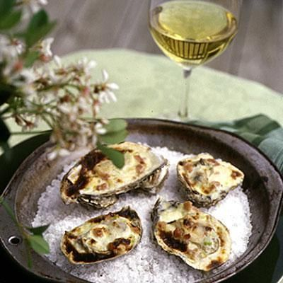Broiled Oysters with Celery Cream and Virginia Ham | Coastalliving.com