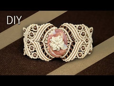 DIY Macramé Bracelet with Stone and Beads - Tutorial - YouTube
