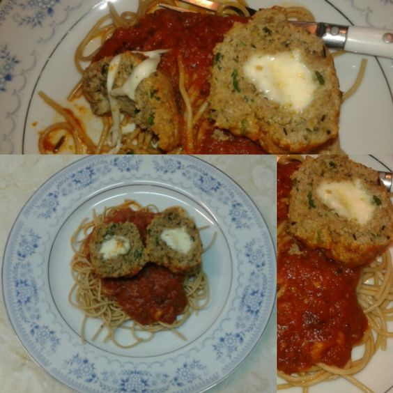 Ground Turkey Meatballs stuffed w/Mozzarella Cheese. 100% spaghetti noodles. ♡