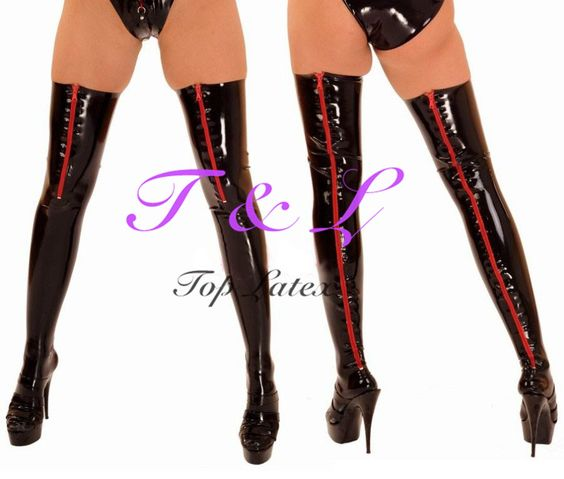 Latex Stockings Rubber Stockings With Back Zipper Latex Long Stockings Front Zipper