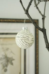 Homemade ornament from pages of an old book.  Maybe a good teachers gift from the kids.