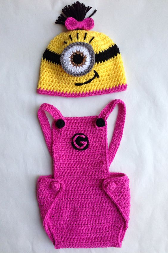 Pink Girl Minion Hat and Overalls by Evermicha on Etsy, $50.00