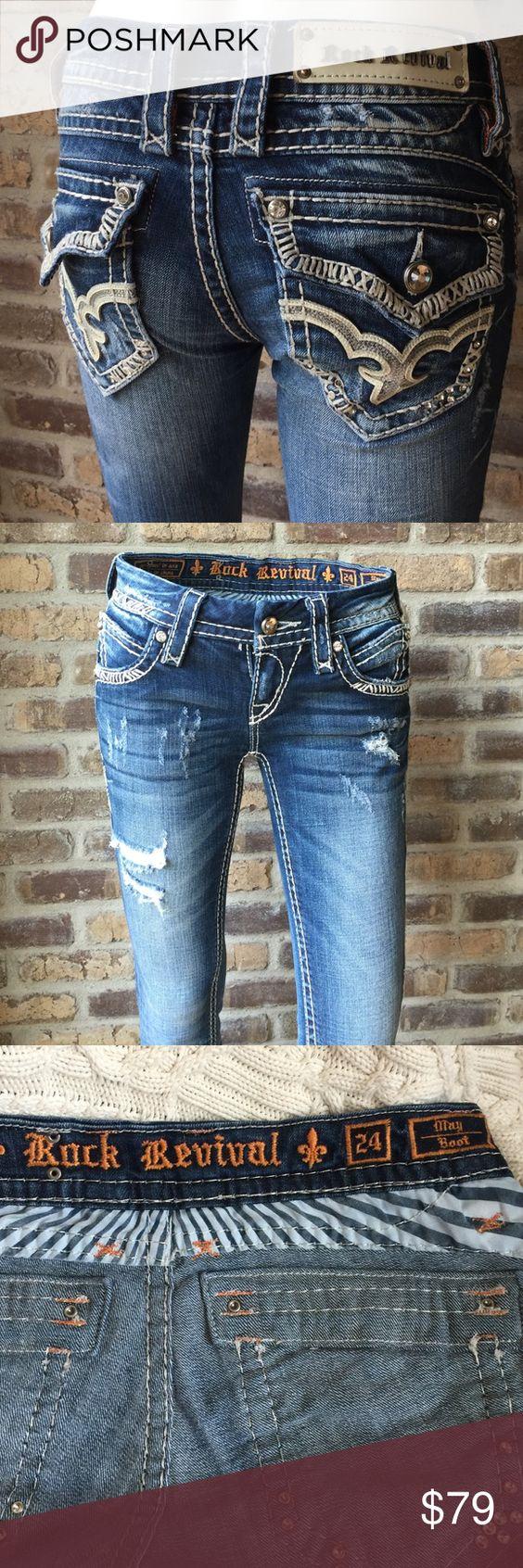 Rock Revival Jeans Rock Revival boot cut jeans size 24. Style E8343B4A. 32 inseam Rock Revival Jeans Boot Cut