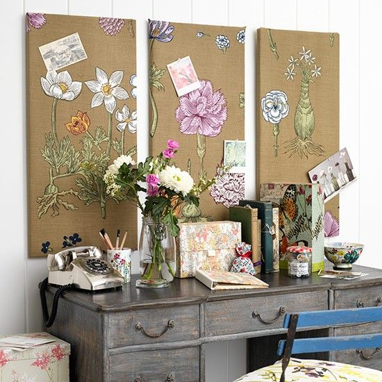 Los tablones de anuncios de la oficina en casa Botánico   ideas de diseño de oficina en casa País   Oficina Principal   GALERIA DE FOTOS   Country Homes and Interiors   Housetoh ...