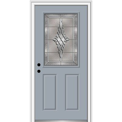 Verona Home Design Fibreglass Smooth 1 2 Lite 2 Panel Single Entry Door Door Size 80 H X 32 W X 1 75 D Door Orientation Right Hand Inswing Fini Vinyl Screen Doors Sliding Screen