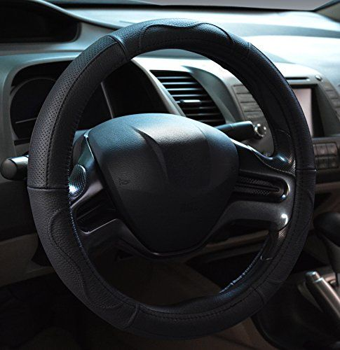 Dee-Type Luxurious Leather Steering Wheel Cover with Size 38 cm Black and Brown