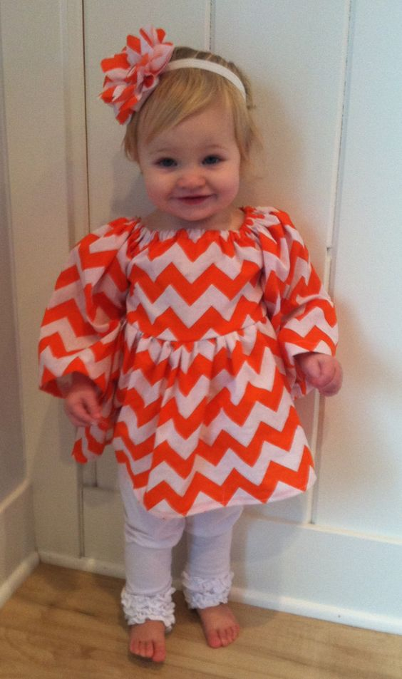 Orange and White Chevron Peasant Dress!  Perfect for Fall, Thanksgiving or Any Occasion! Perfect for Pictures. Baby, Toddler, Little Girls by YourLittleLoves on Etsy