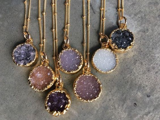 Natural Druzy gold elecroform about 11mm round. Gold filled chain 16 Will come in cute gift box. This listing is for one necklaces. To see more please visit my shop at https://www.etsy.com/shop/BijouLimon