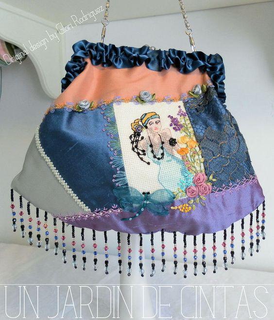 Bolsos de mano - Bolso Art Decó-Crazy quilt y bordado - hecho a mano por gloria-60 en DaWanda