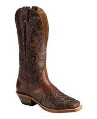 Boulet Tooled Leather Cowgirl Boots - Square Toe