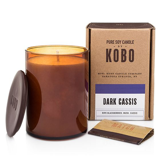 Dark Cassis Boxed Candle by KOBO