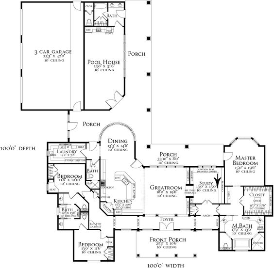 Almost perfect of course no pool house 2 car garage House plans with 4 car attached garage