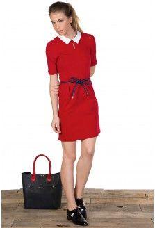 Vestido Cuello Camisero Rojo