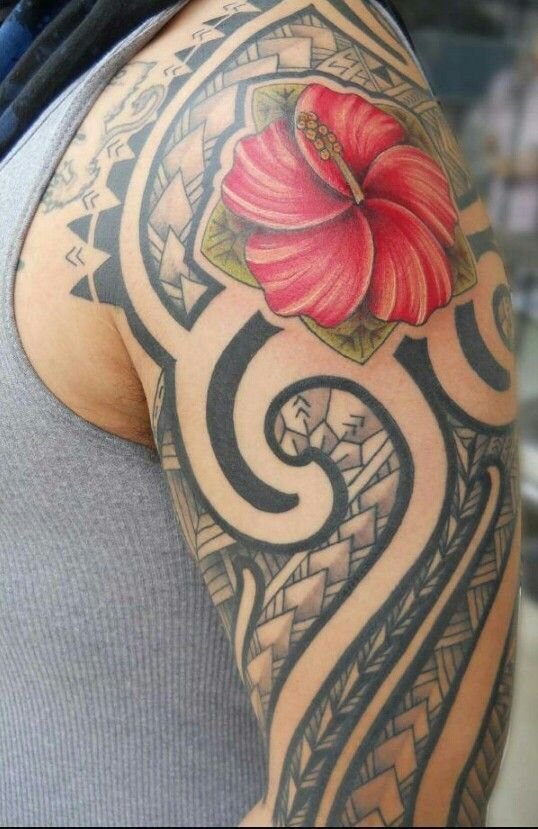 Polynesian Tribal With A Red Hibiscus As The Top Center Of His Sleeve Maoritattoossleeve Cool Tribal Tattoos Tribal Flower Tattoos Half Sleeve Tribal Tattoos