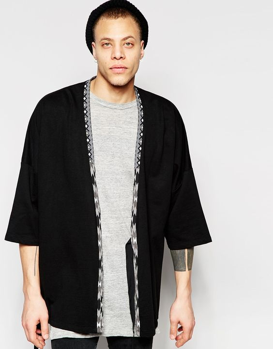 ASOS Longline Kimono Cardigan With Aztec Print In Black | CASUAL ...