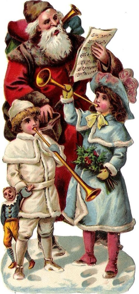 Oblaten Glanzbild scrap  Nikolaus  15cm father XMAS santa Weihnachtsmann Puppe: