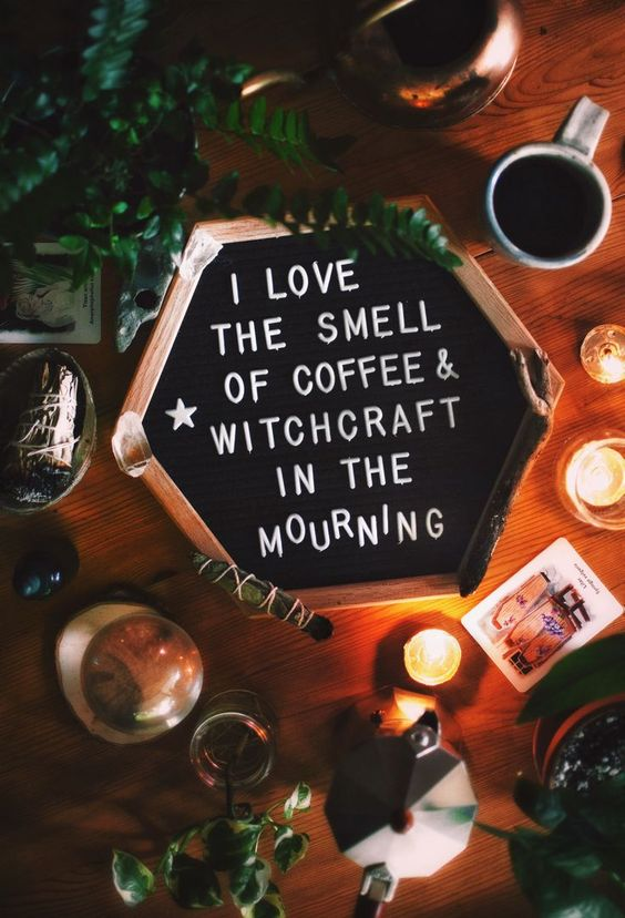 I love the smell of coffee & witchcraft in the morning. Letteboard | Witch | Kitchen | Halloween | Crystal Ball | Sage Bundle | Botanical Cards | Mystic | Fern | Houseplants | Candles | Psychic @fairytale_slavery