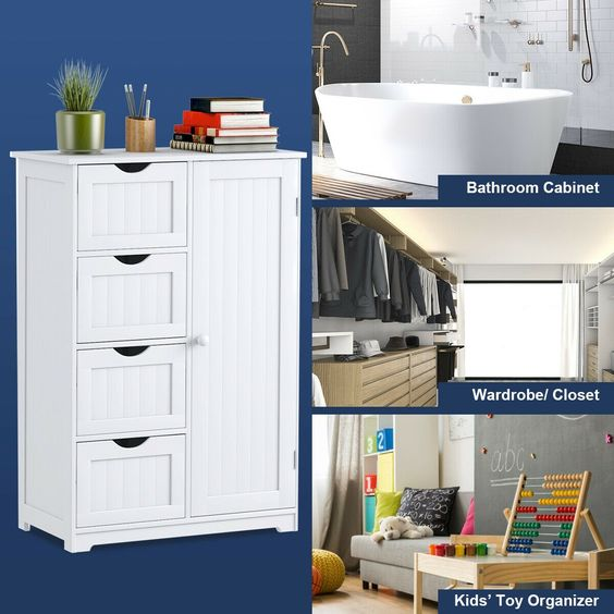 Standing Indoor Wooden Cabinet With 4 Drawers 79 95 Free Shipping Create A Cleaner Bathroom Storage Cabinet Cupboard Storage Freestanding Bathroom Storage