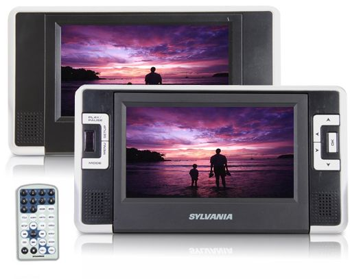 "$59.99 3/28/2012 Only. Sylvania 7"" Dual Screen Portable DVD Player w/ Easy Car Mount Kit, Headphones, USB & SD Card Reader"