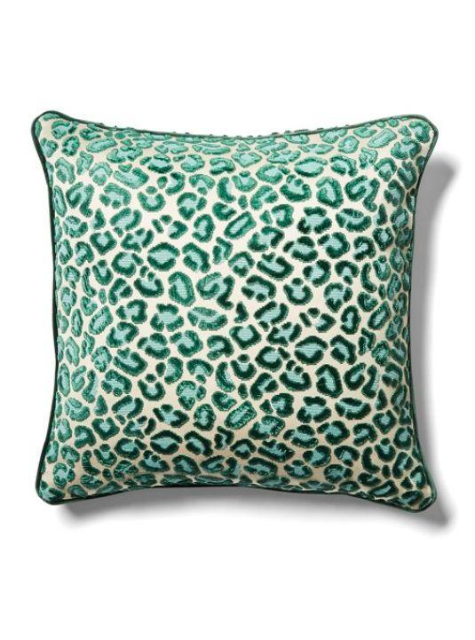 Green Velvet Leopard Print Pillow