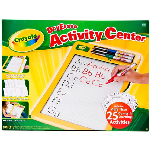 Crayola® Dry-Erase Activity Center,                 Whether you're at home or on the go, this activity center is    great for learning. Interchangeable templates help children    write, draw, count or just play different games. It's fun