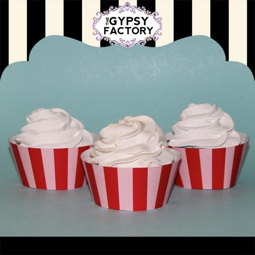 Printabe Red & Pink Stripe Cupcake Wrappers by thegypsyfactory, $3.95