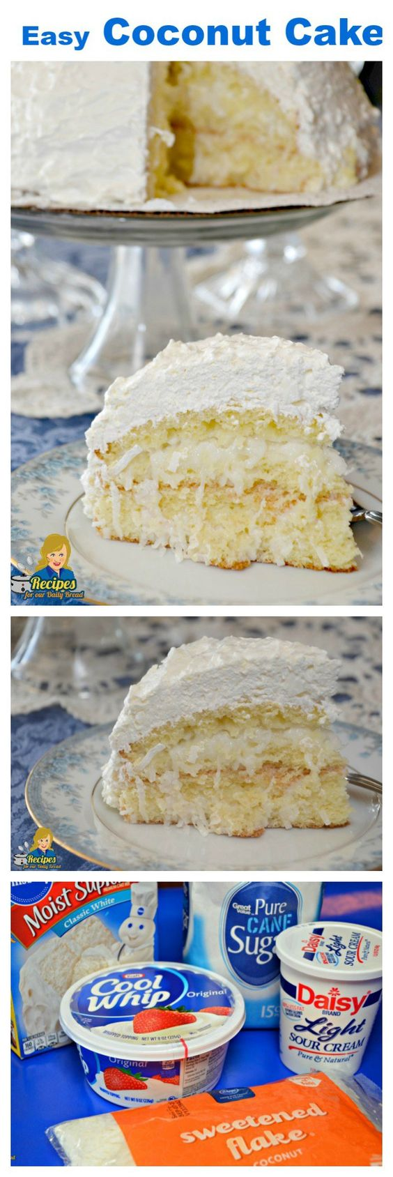 Easy coconut cake is made using 5 simple ingredients including cake