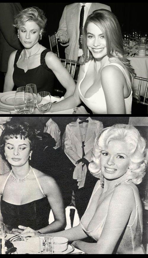 Julie Bowen and Sofia Vergara re-enact the iconic Sophia Loren and Jayne Mansfield photograph taken by Delmar Watson in 1957.