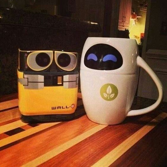 Wall e eva tazas tazas canecas coffee cup pinterest - Walle and eve mugs ...