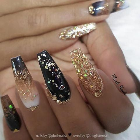 Black Ombre Gold Glitter And Crystals On Long Coffin Nails Nail Artist Plushnailss Follow Her Gold Acrylic Nails Gold Nails Gold Glitter Nails