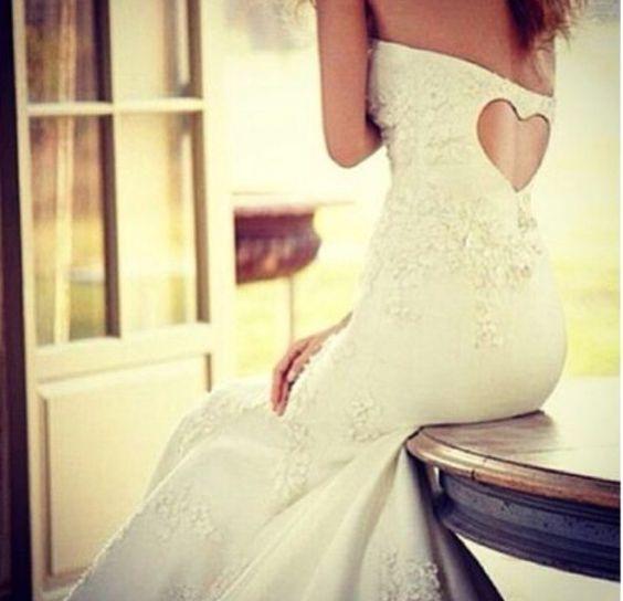 Sweet wedding heart back dress