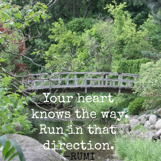 Photo of bridge in a Japanese garden by Michele of Hello Lovely Studio and Rumi quote. Your heart knows the way - run in that direction. #rumi #quote #bridge #japanesegarden #hellolovelystudio