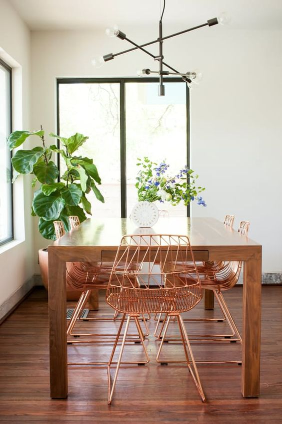 California Eclectic effortless decor Anthropologie style home copper dining chairs