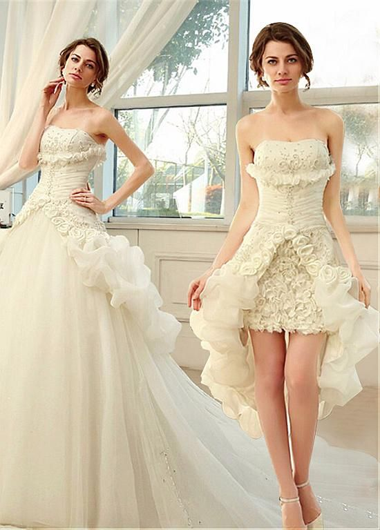 183 33 Gorgeous Organza Tulle Strapless Neckline 2 In 1 Wedding Dresses With Handmade Flo Detachable Train Wedding Dress Short Wedding Dress Bridal Dresses
