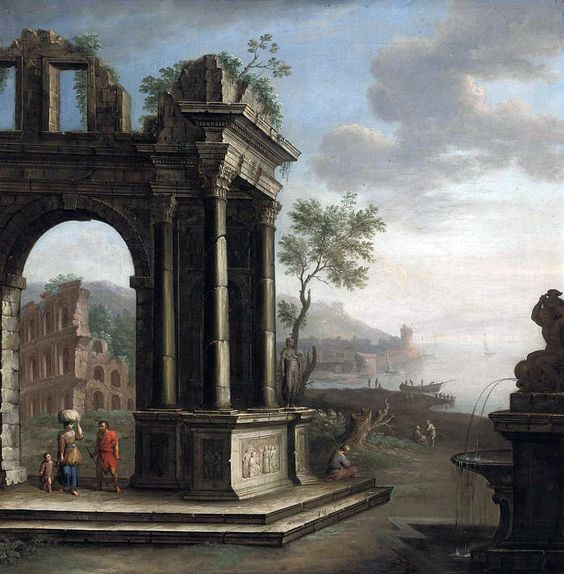 Circle of George Lambert - A Mediterranean coastal landscape with figures beneath classical ruins.